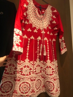 Used Red frock with white embrodiery in Dubai, UAE