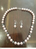 Used Pink pearl silver necklace set in Dubai, UAE