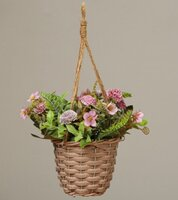 Used Purple Flowers with Rattan Pot in Dubai, UAE