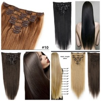 Used Brown clip in remy hair cougar 2 pcs in Dubai, UAE