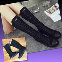 Used KNEE HIGH FLAT CANVAS BOOTS/38 in Dubai, UAE