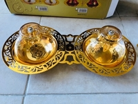 Used New twin glass bowls for candy/dates in Dubai, UAE