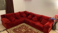 Used 6 seater corner luxury red velvet sofa in Dubai, UAE