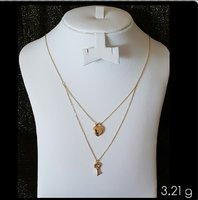 Used Two Layer Necklace 18k Gold, Italian in Dubai, UAE