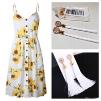 Used Summer🌻dress size S & 1 pair Earrings  in Dubai, UAE