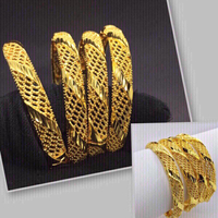 Used 24K 4pcs Gold Color Bangles(Gold plated) in Dubai, UAE