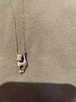 Used Silver chain with cat pendant  in Dubai, UAE