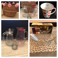 Used Glass jugs & 6 cups & 1 bowl & bag  in Dubai, UAE