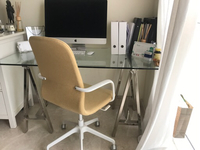 Used Beautiful Glass desk and Chair west Elm in Dubai, UAE