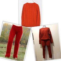 Used New red knitted winter pants and sweater in Dubai, UAE