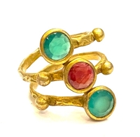 Used Ruby emerald gold plated bronze ring 7 in Dubai, UAE