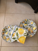 Used Ceramic Plates🍋design 13 pcs & napkins  in Dubai, UAE