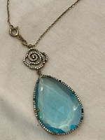 Used 925 Italian silver necklace blue topaz in Dubai, UAE