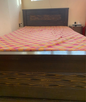 Used Single bed black color with side table in Dubai, UAE