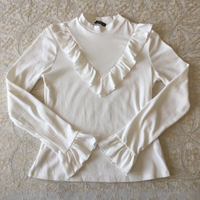 Used White ribbed top with frills (size L) in Dubai, UAE