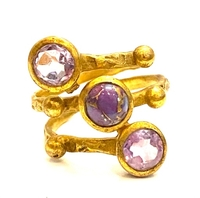 Used Amethyst bronze gold plated ring 7  in Dubai, UAE