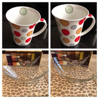 Used Bone China cups 6 pcs & 1 Glas bowl  in Dubai, UAE
