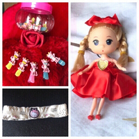 Used New red doll ❤️ ,hair band & clips set👧 in Dubai, UAE