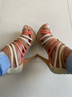 Used ALDO beige,brown and coral strappy heels in Dubai, UAE