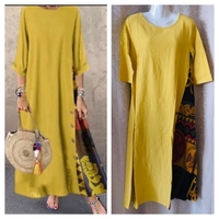 Used Mustard colored dress size M in Dubai, UAE