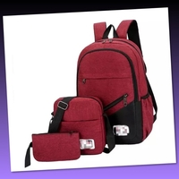 Used NEW 3 pcs SET NYLON SCHOOL BAG in Dubai, UAE