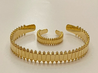 Used Free size gold plated bracelet and ring  in Dubai, UAE