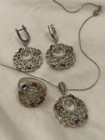 Used Necklace Ring earrings silver set semipr in Dubai, UAE