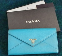 Used Prada Two Fold Long Wallet in Blue in Dubai, UAE
