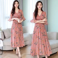Used New floral chiffon long dress size M in Dubai, UAE