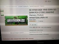 Used 8gb ddr4 ram SK HYNIX in Dubai, UAE