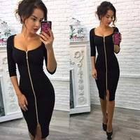Used Brand new sexy front zipper black dress in Dubai, UAE
