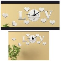 Used New mirror clock sticker Love design in Dubai, UAE