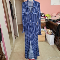 Used Blue white dotted long dress with belt in Dubai, UAE