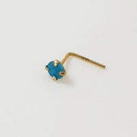 Used 14K Solid Gold 3mm Natural Blue Turquois in Dubai, UAE