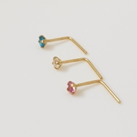 Used 14K Solid Yellow Gold 2mm 3 colors Stud in Dubai, UAE