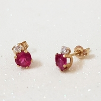 Used 10K Solid Gold Heart Simulated Ruby Stud in Dubai, UAE