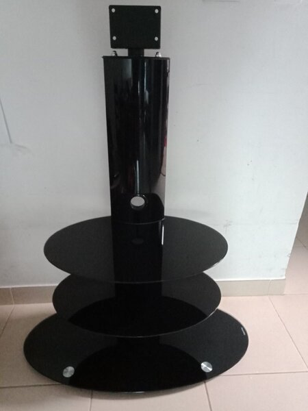 Used TV Stand with glass shelves in Dubai, UAE