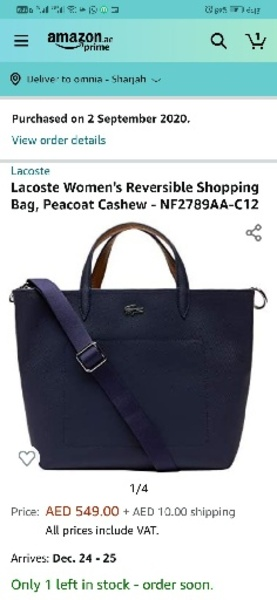 Used Lacoste navy colour 2side bag- authentic in Dubai, UAE