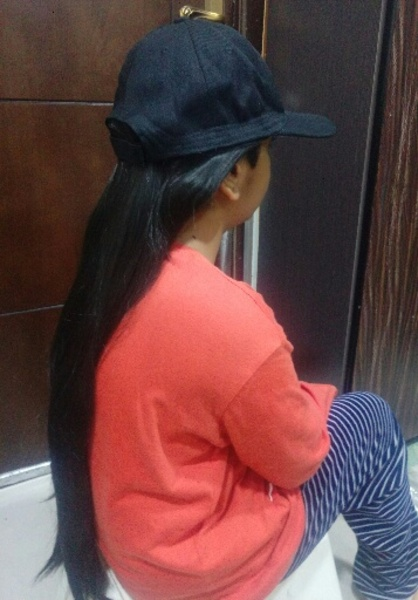 Used Hat with long beautiful wig real lookNew in Dubai, UAE