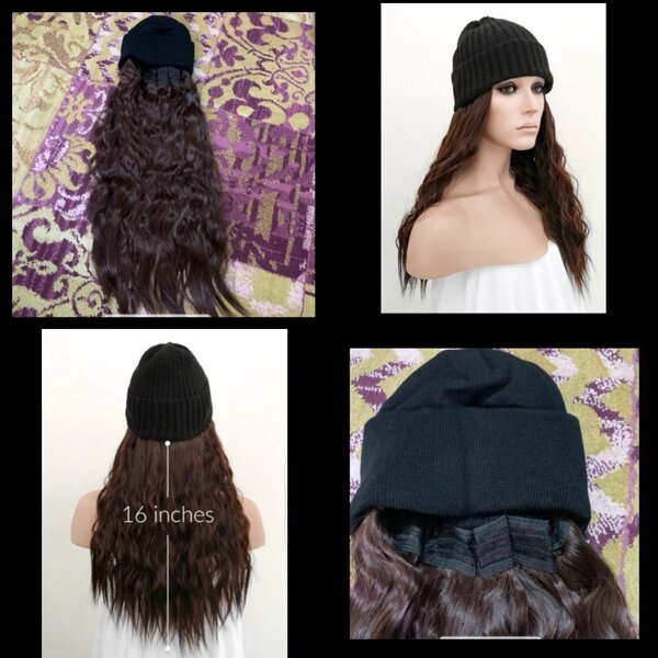 Used Wig with hat light brown wave curly New in Dubai, UAE