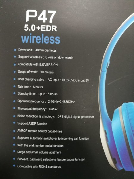 Used New blue p47 bluetooth headphones in Dubai, UAE