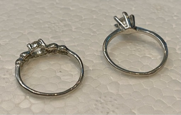 Used 2 solitaire engagement rings gold plated in Dubai, UAE