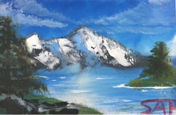 Used Bob Ross inspired acrylic painting in Dubai, UAE