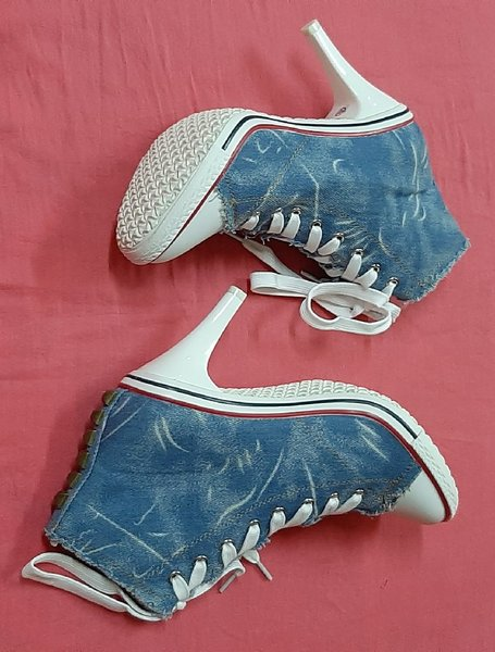 Used Ladies high heels denim shoes, 40 ! in Dubai, UAE