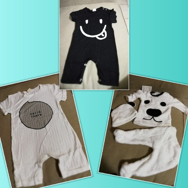 Used 3 pcs cutie overall baby clothes 6 to 12 in Dubai, UAE