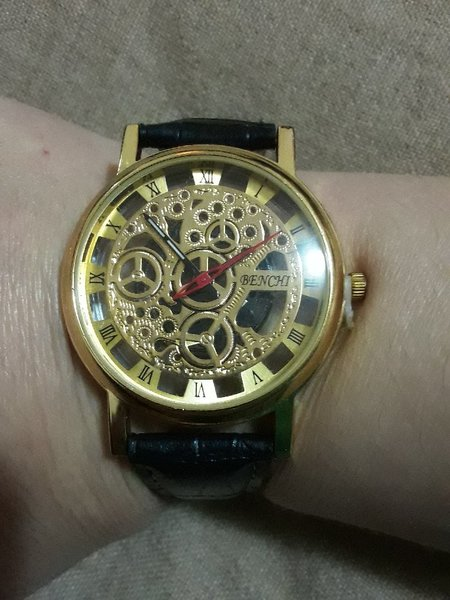 Used New skeleton men watch black and gold in Dubai, UAE