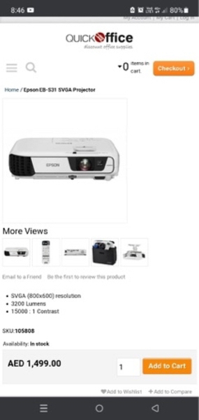 Used Brand New Epson Projector in Dubai, UAE