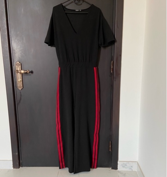 Used Bershka Black Red Stripe Jumpsuit in Dubai, UAE