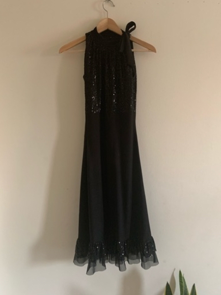 Used black cocktail party dress with sequins in Dubai, UAE