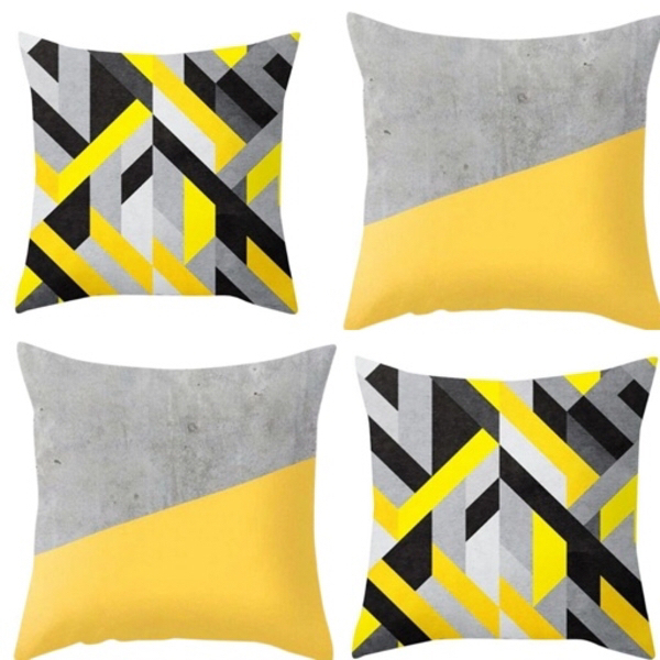 Used Yellow / Grey Pillow Cover set of 2 in Dubai, UAE